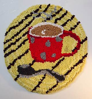 tea cup seat mat - hooked