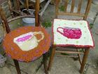tea cup seat mats - hooked