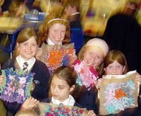 Children with their rag rug squares